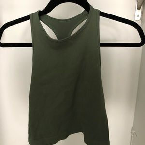 Free People Stretchy Olive Halter Top